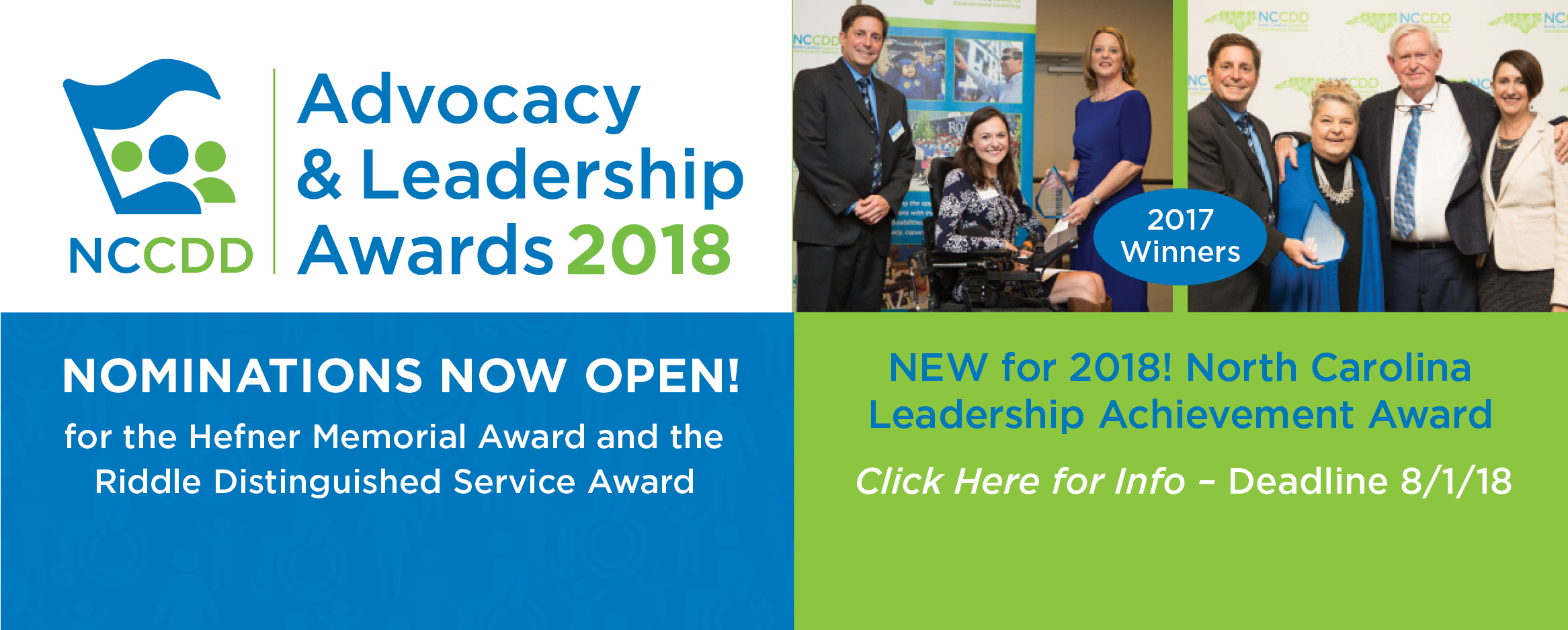 2018 Advocacy & Leadership Awards - Nominations now open! Hefner, Riddle and new Leadership Awards. Deadline 8/1/18